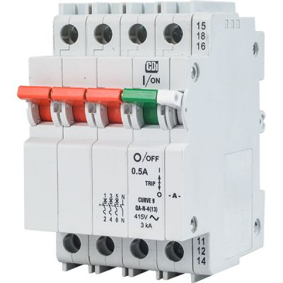 QA(13) AC 13 mm Module Width Dual Mount 3 pole + neutral