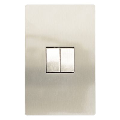 Brushed stainless steel 2x4 two lever light switch (2-way)